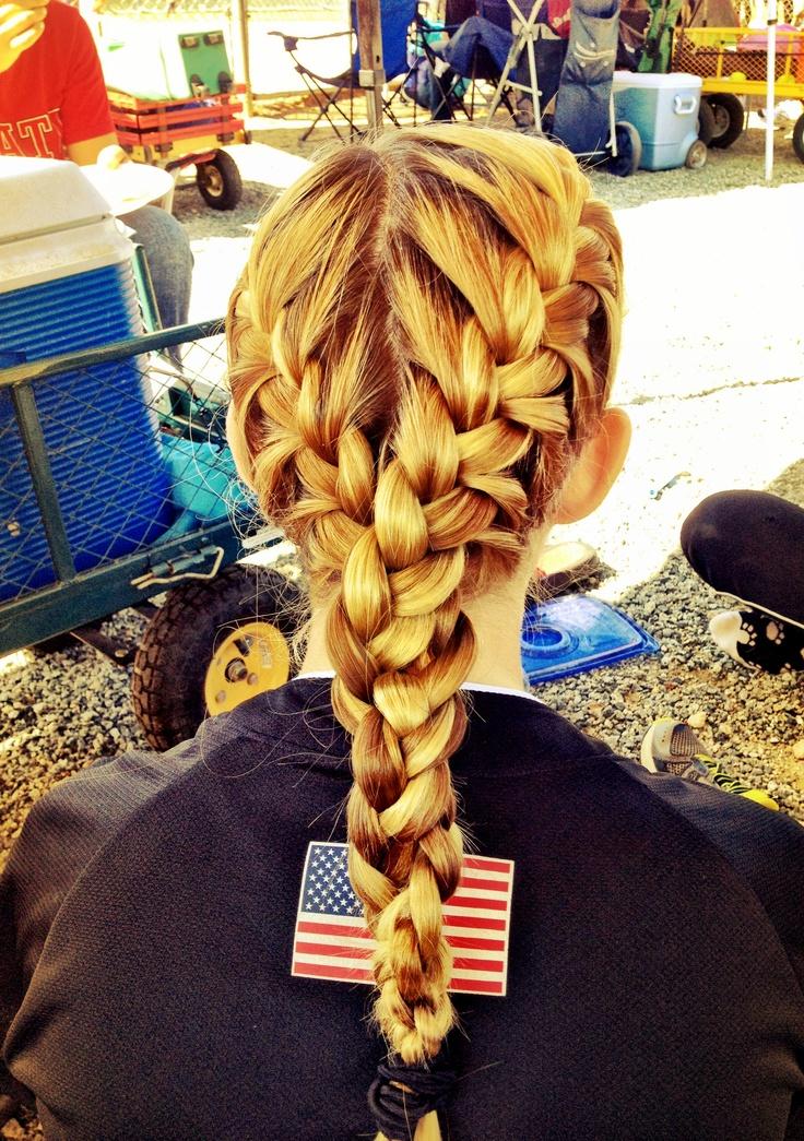 Niece's hair for her softball game :) cute