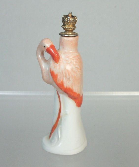 * Vtg Flamingo, German Porcelain Crown Top Perfume Bottle
