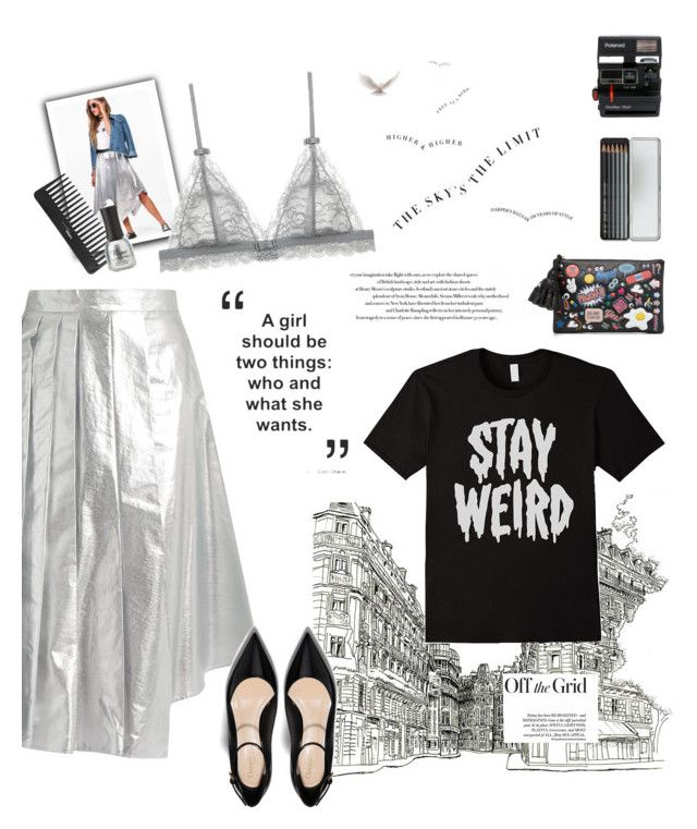 """""""{meteorite}"""" by erica-au ❤ liked on Polyvore featuring A.W.A.K.E., Boohoo, Anya Hindmarch, Polaroid, Caran d'Ache, Sephora Collection and Charlotte Russe"""