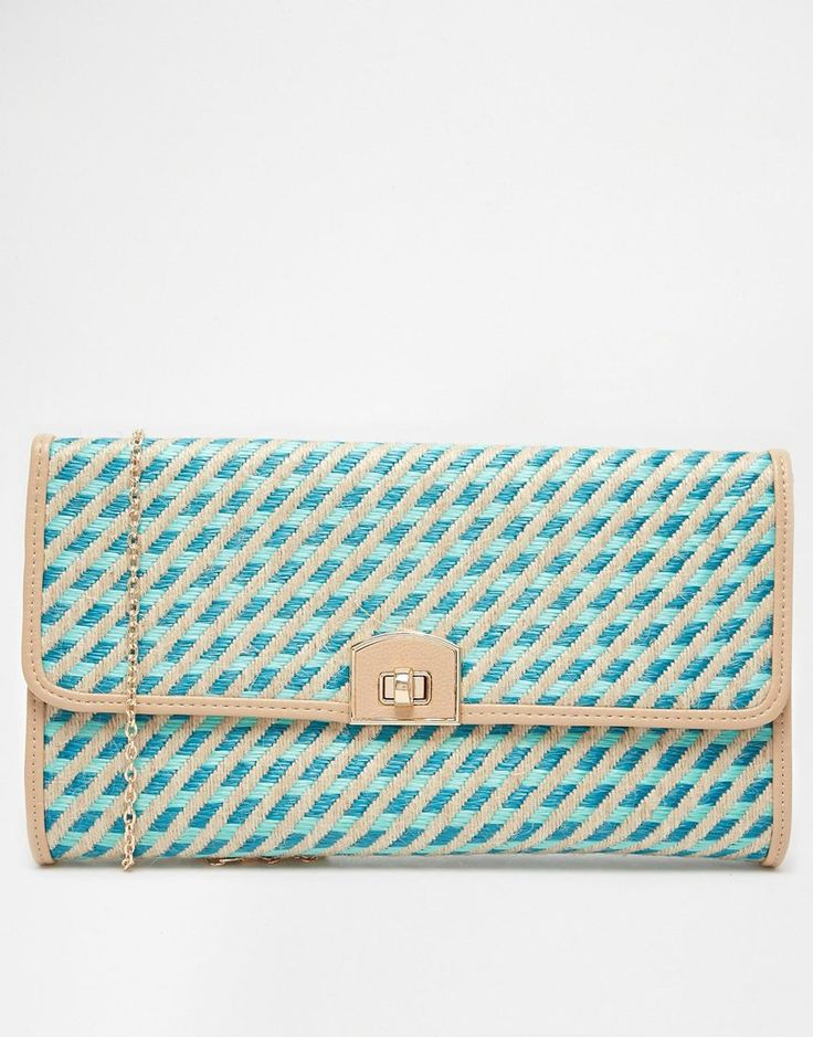 Johnny Loves Rosie Pastel Blue Straw Clutch Bag