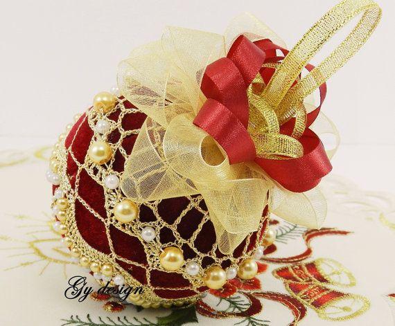 Royalty's Kerstbal beaded haak sieraad handgemaakte bal door Gydesi