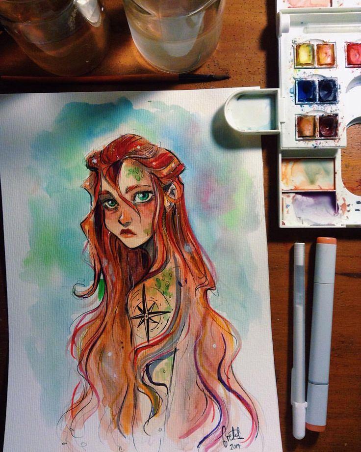Logros de hoy: dejar el sketchbook y dibujar en una hoja suelta. ✨✨ #watercolor #mermaid #copicmarkers
