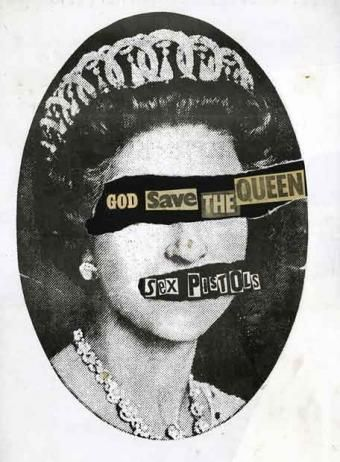 """Sex Pistols' """"God Save the Queen"""" (Single cover), 1977 by Jamie Reid"""