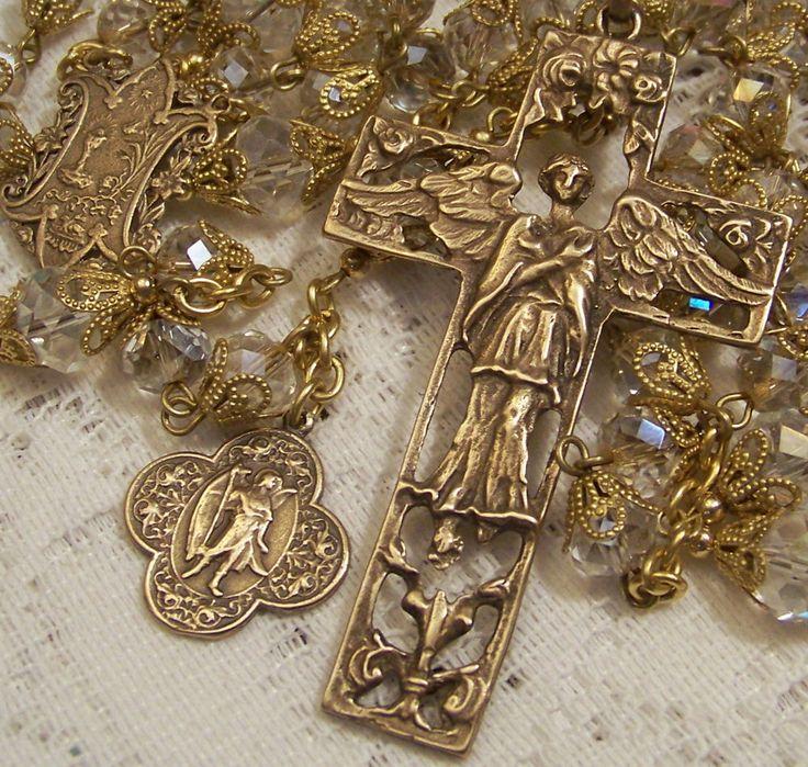 Rosary Handmade St. Raphael Archangel Crystal Antique Bronze Design
