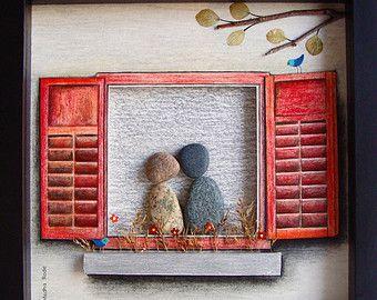 Único regalo de boda, boda regalo guijarro arte, regalo de compromiso único, personalizado par regalo, novia y novio, regalo de boda, regalo, regalos de amor, guijarro arte de pareja para celebrar y apreciar la ocasión especial; un regalo excepcional que será atesorado por años.  ✿ Arte Original del canto con un sentido de romance, misterio y magia. ✿ Viene en marco de estilo de la caja negra de la sombra de 8 x 8 pulgadas, alrededor de 1,5 pulgadas de profundo. Viene con el vidrio…