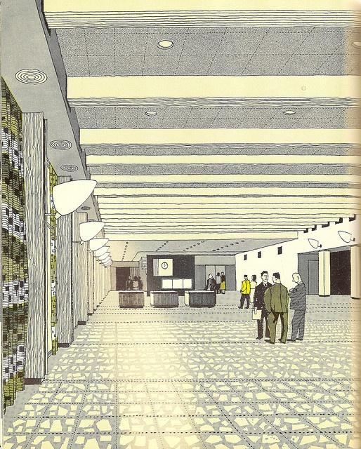 The Exhibition Hall, London Heathrow Airport - illustration by Gordon Cullen - 1956 by mikeyashworth, via Flickr