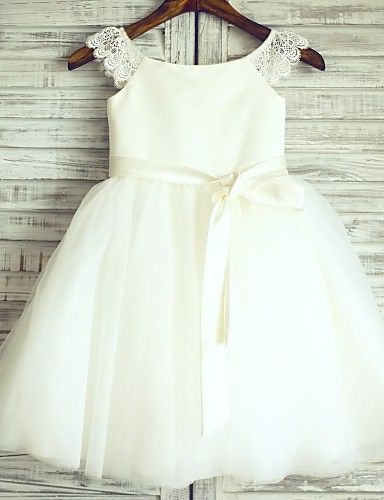 Princess Ivory Knee-length Flower Girl Dress - Lace/Tulle Cap Sleeve 2016 - £47.52