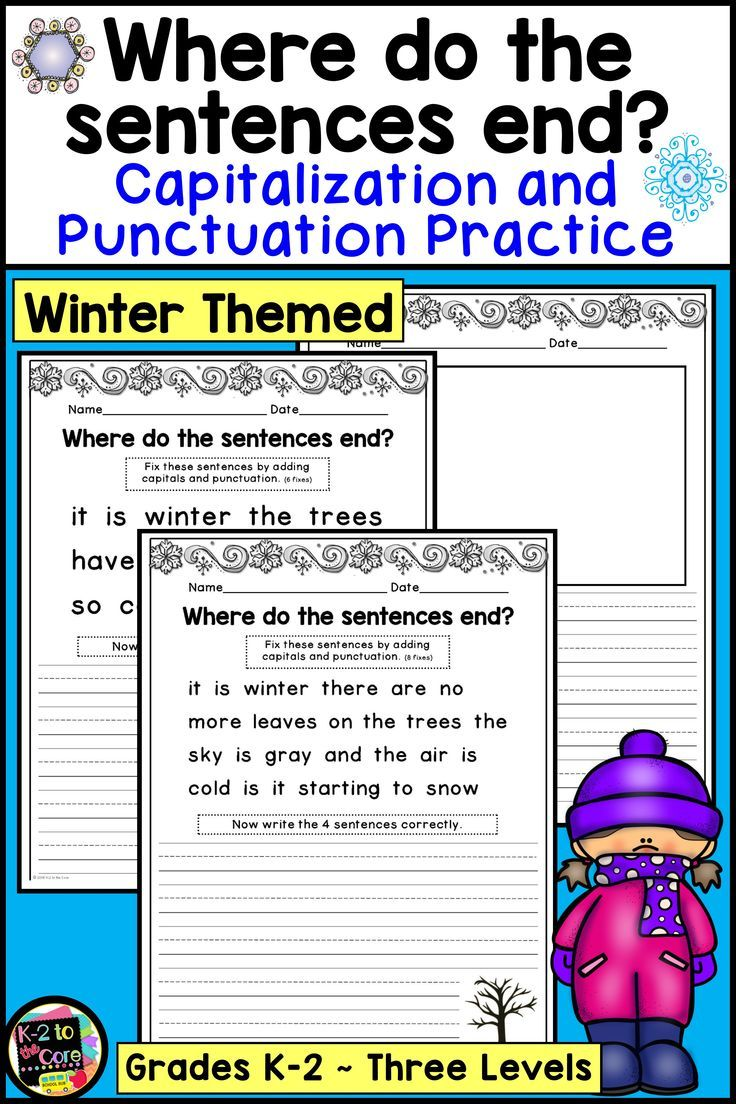 Winter Writing Capitalization And Punctuation Practice Digital And Print Winter Writing Writing Lessons Punctuation [ 1104 x 736 Pixel ]