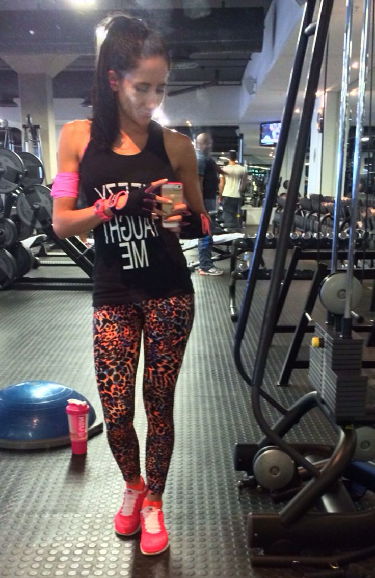 Gym outfit ufe0f coral u0026 orange leopard print gym tights coral nike shoes!! | clothes | Pinterest ...