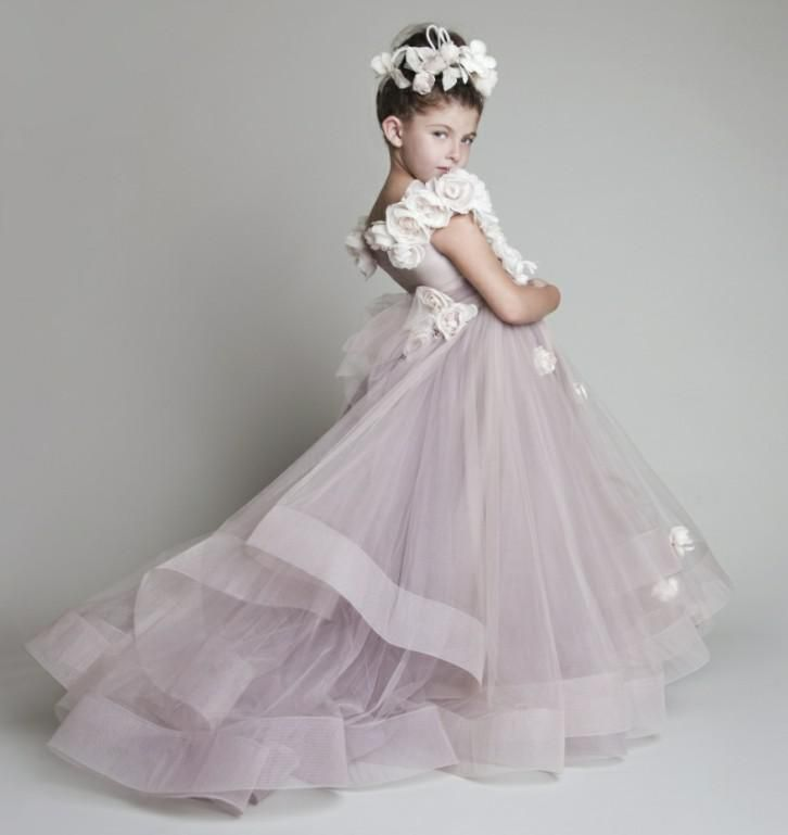 Wholesale Girls Dresses - Buy 2014 New Lovely New Tulle Ruffled Handmade Flowers One-shoulder Flower Girls' Dresses Girl's Pageant Dresses, $62.66 | DHgate.com