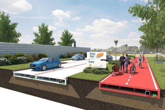 В Голландии построят дорогу будущего. Компания KWS Infa ведет работу над проектом по созданию пластиковой автомобильной дороги, которая позволит в разы ускорить возведения дорожной инфраструктуры.
