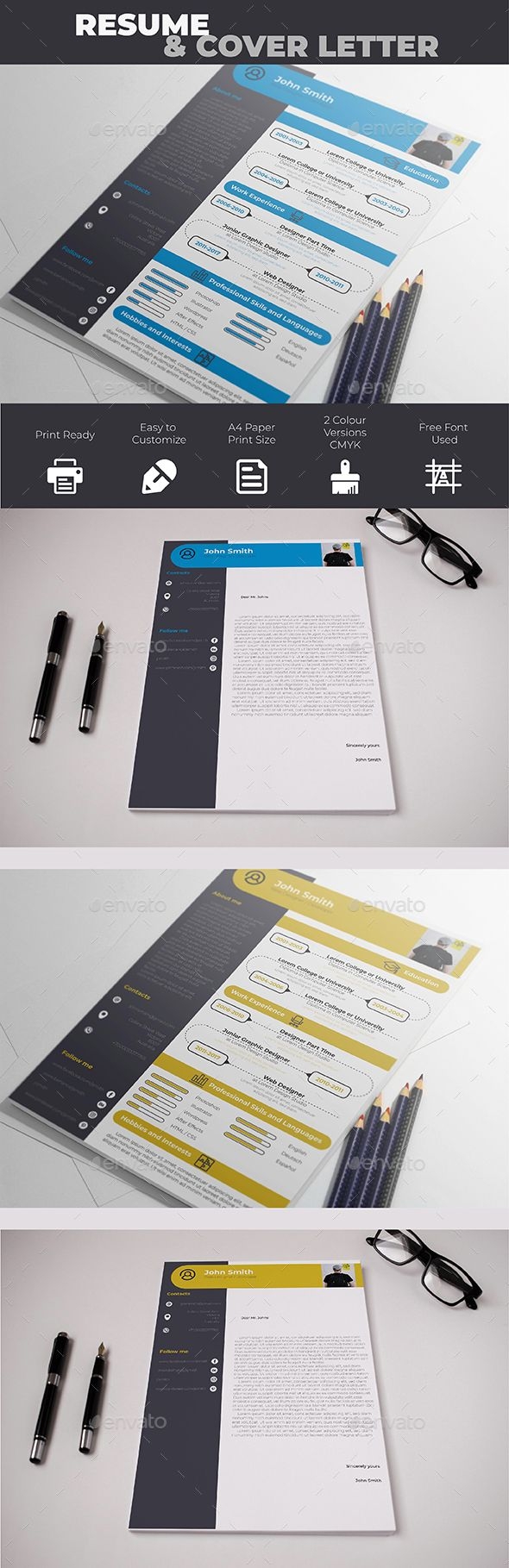 Resume & Cover Letter Template PSD, Vector EPS, AI #design #cv