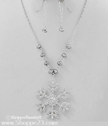 """Silver Snowflake Necklace Set 16-19"""" Winter Wedding Bridal Party Jewelry Boxed  $19  Free USA Shipping"""
