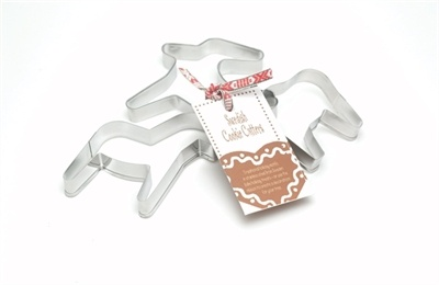 """Swedish Cookie Cutter Sets  We offer a trio of steel cookie cutters to create your own pepparkakor (they come with a recipe tied with a Swedish ribbon).  Or choose a set of jumbo and medium-sized cutters in Hearts or Dala Horses.  These items measures between 4"""" and 8"""""""