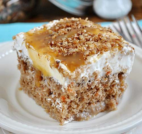 I've always been a fan of carrot cake, but this Carrot Poke Cake recipe is totally over the top!