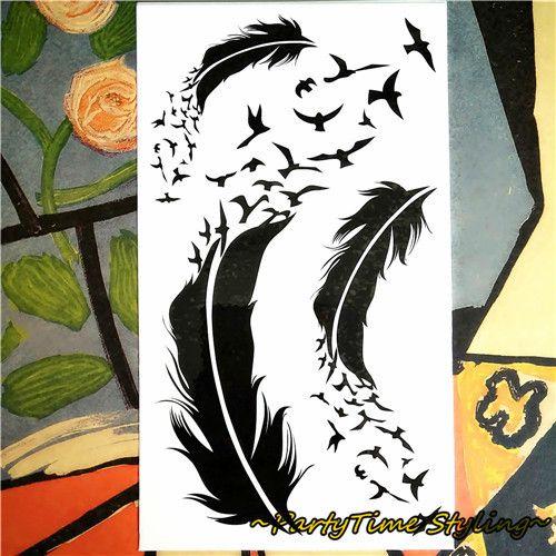 Dark Angel Feather Temporary Tattoo Body Art Flash Tattoo Sticker Waterproof