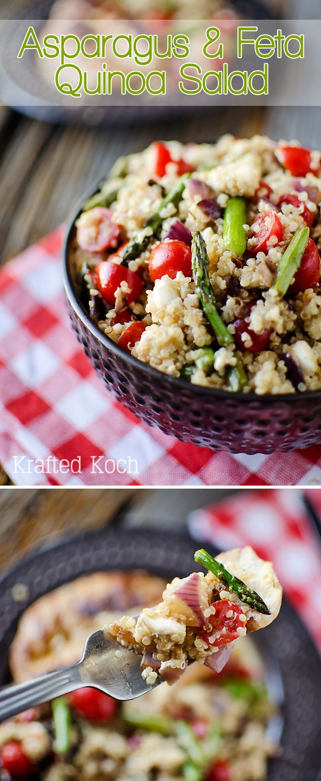 Asparagus and Feta Quinoa Salad - Krafted Koch - Perfect vegetarian salad for an Easter side dish!