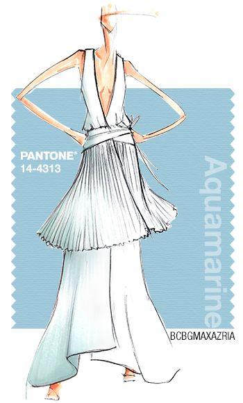 BCBGMAXAZRIA in Pantone Aquamarine - SPRING 2015 PANTONE's FashionColorReport