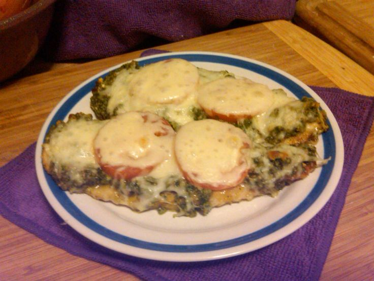Pesto Chicken Bake with Tomatoes & Cheese