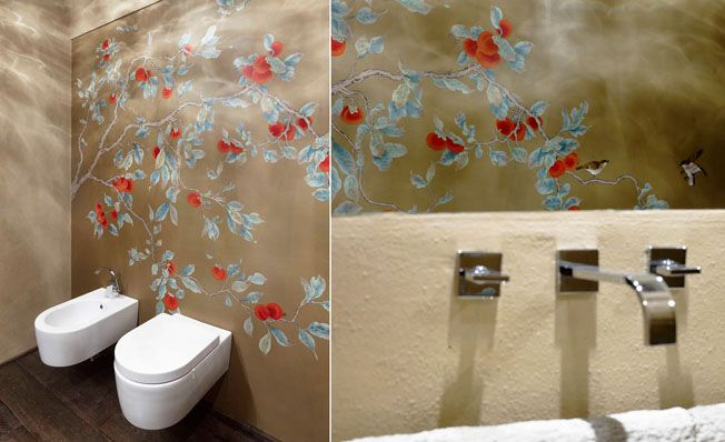 Bathroom wall in Misha's modern chinoiserie, Red Kaki wallpaper design on Terra di Siena dyed silk.