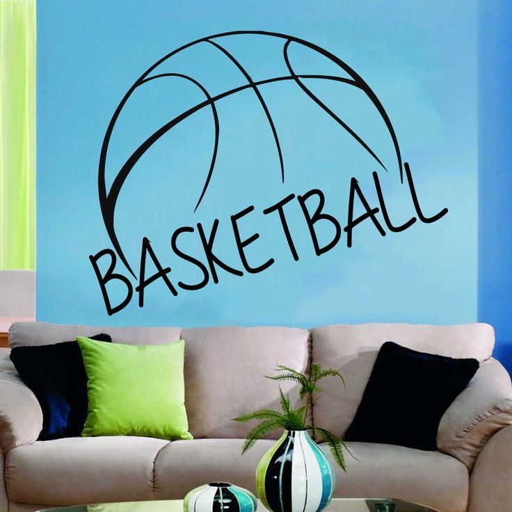 Basketball Wall Decal Ball Sign Lettering Gym Decor Sport Decals Vinyl Sticker Home Interior Art Mural Boy Girl Nursery Kids Room Decor KG55 by WallDecalswithLove on Etsy https://www.etsy.com/listing/212259024/basketball-wall-decal-ball-sign