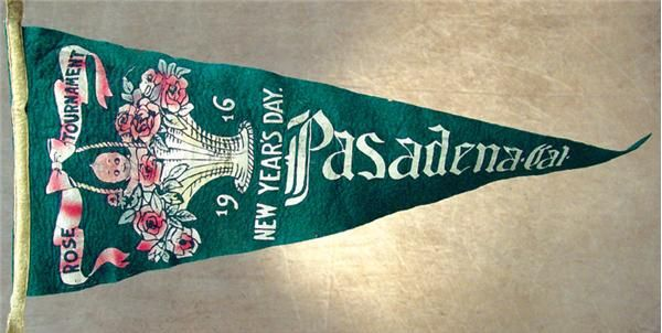 "1916 Tournament of Roses Parade Pennant (28"" long). An important piece of college football history, from the first year of the exalted tradition to bring in the New Year. This was part of the Tournament of Roses Parade through Pasadena, California and was most likely carried in the parade just before the Rose Bowl. This year marked the resurgence of football as the main event.  $115"