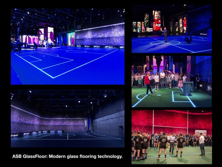 Modern sports flooring from ASB GlassFloor. Innovative and futuristic technology made in Germany. Here installed at the BT Sports TV Studio in London.