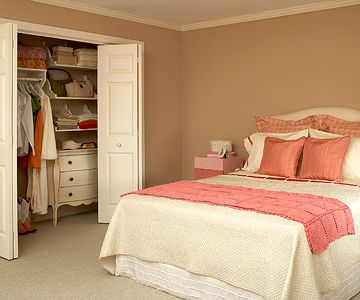 After Bedroom Makeover: Boost Color  A raspberry throw, new pillows, and a bold pink ribbon add a burst of life to the white bedding. The taupe wall paint brings warmth to the room.