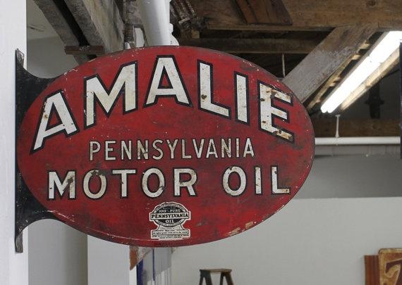 Vintage 1940's Metal Amalie Motor Oil Sign by TheMasonDixon, $235.00