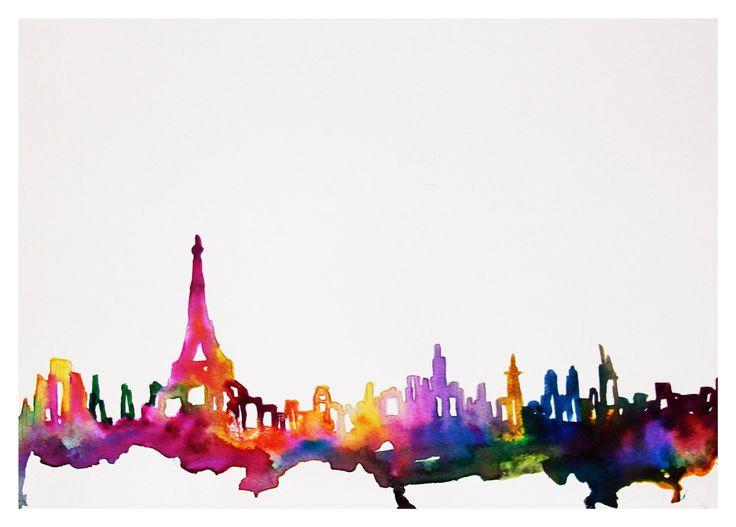 Paris Watercolor Illustration 8x10 Print. $20.00, via Etsy.