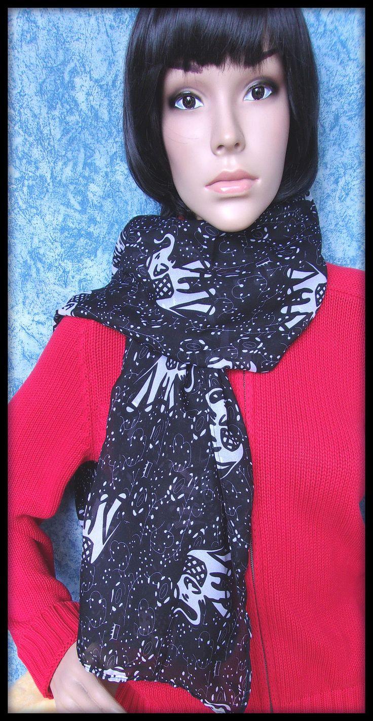 Echarpe foulard femme en voile noir motif éléphant : Echarpe, foulard, cravate par orkan28