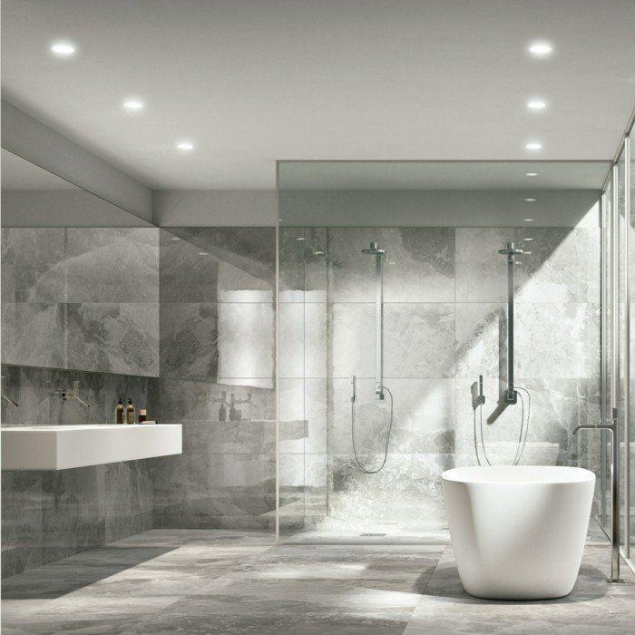 carrelage effet marbre gris dans la salle de bain