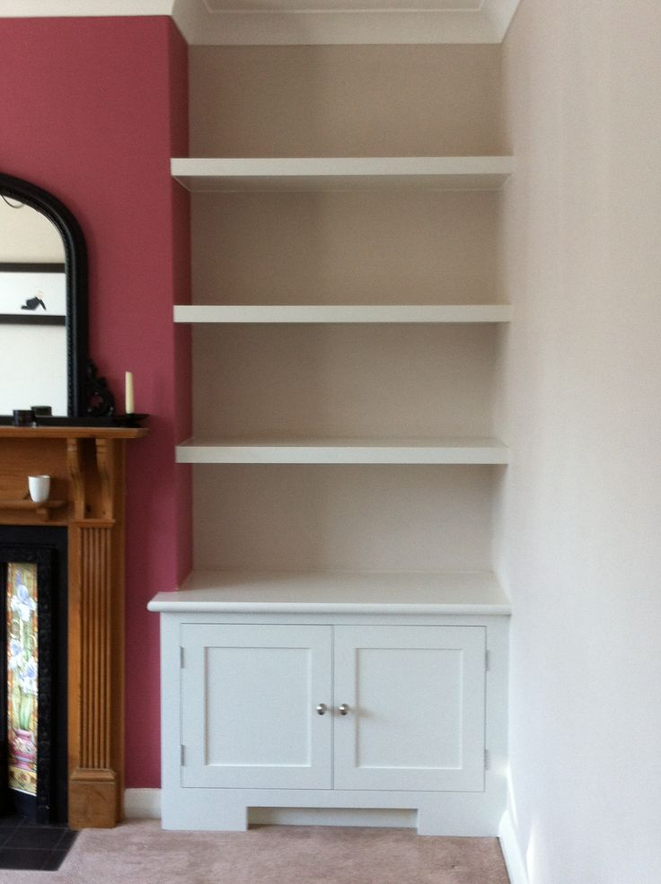 Alcove storage cupboard complete with shelving