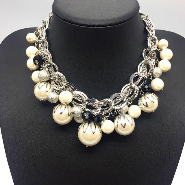 Superb Price $22.11, Buy Silver Color ABS Big Pearl Necklace Chokers Statement Jewelry Women/Collares De Perlas/Grand Collier De Perles/Joyeria