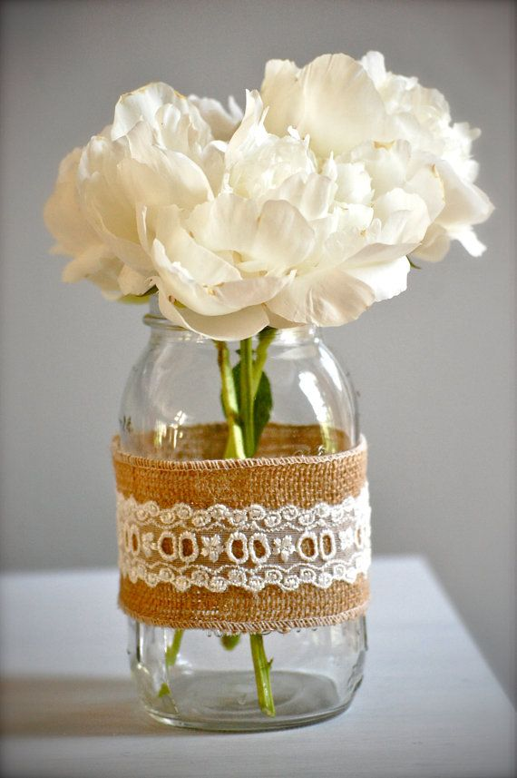 Rustic burlap and lace vase, rustic wedding vase, shabby chic home decor, cottage home decor/container via Etsy