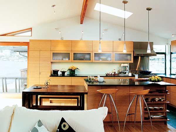 This eco-friendly kitchen resides in a boathouse anchored on a Seattle lake. The cabinets are finished in bamboo and sky-lights provide ample natural light and ventilation. (Photo: John Clark)