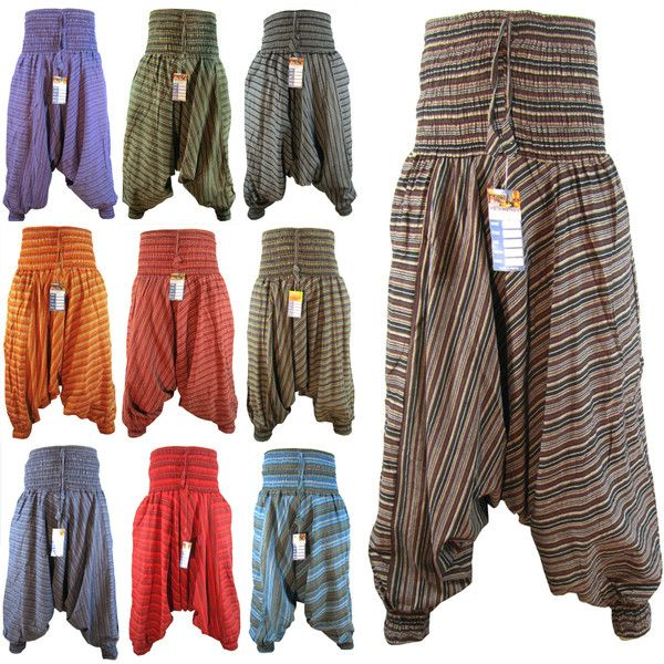 Women's Hippy Low Crotch Baggy Harem Stripy Yoga Elastic Wide Leg... (€21) ❤ liked on Polyvore featuring pants, dark green, women's clothing, drawstring pants, cotton harem pants, yoga pants, wide-leg trousers and baggy harem pants