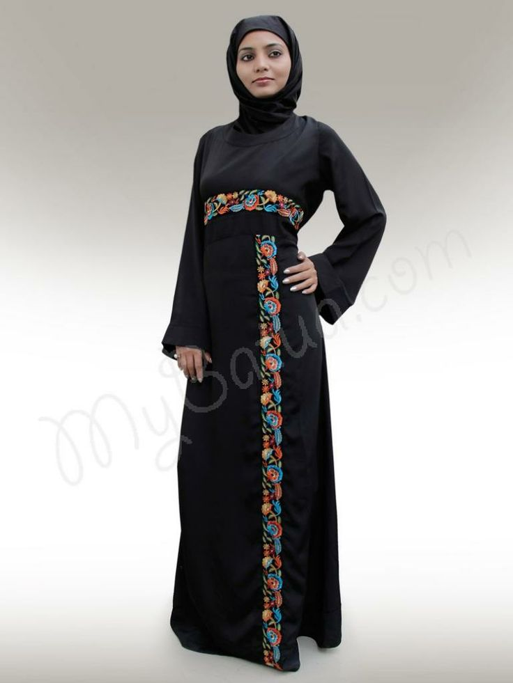 Beautiful Black Party Wear Abaya | MyBatua.com   Ahalam  Abaya!   Style No: Ay-150   Shopping Link  : http://www.mybatua.com/ahalam-abaya   Available Sizes XS to 7XL (size chart: http://www.mybatua.com/size-chart/#ABAYA/JILBAB)    •	Smart look multi color Border design •	Border placed at Front and Sleeves •	Straight Sleeves •	There may be slight colour variation in emboidery colours •	Fabric: Crepe (polyester) •	Care: Dry Clean