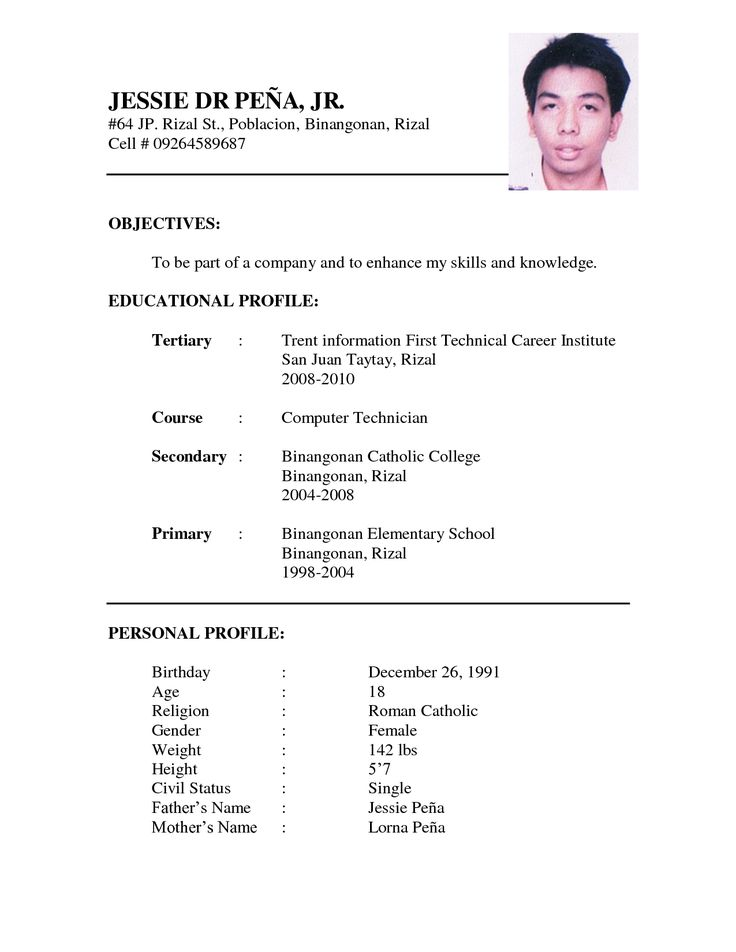 Resume Format Sample Cv Format Cv Resume Application Letter Nice Example Of A…