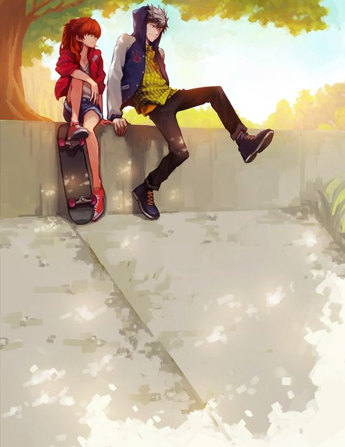 anime skater couple - Pesquisa Google