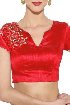 Red Silk Brocade Blouse by Ethnic Pastiche, Blouse