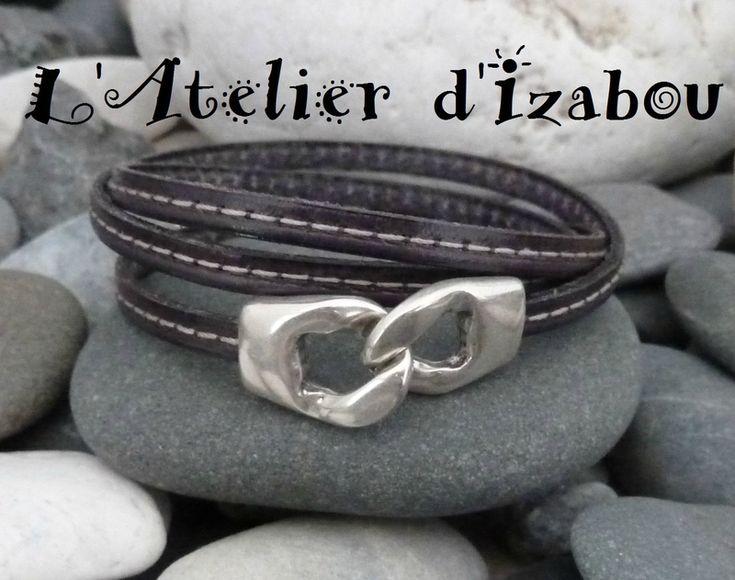 P1160997 Bracelet homme triple tour de poignet cuir gris anthracite et fermoir crochet maillon de chaîne