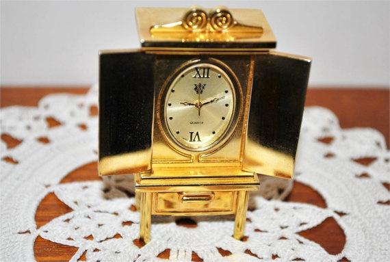 Vintage Miniture Brass Armoire Quartz Clock By