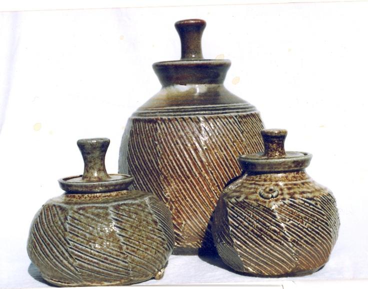Wood/Salt fired, fluted jars