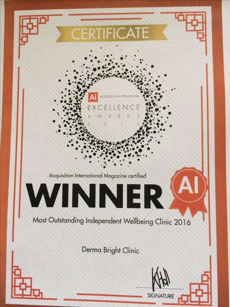 Derma Bright Clinic - Winner - Best Wellbeing Clinic - BC 2016!