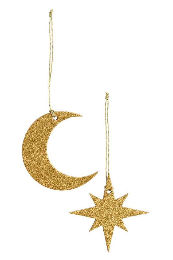 2 рождественских украшения: Блестящие картонные рождественские украшения в форме месяца и звезды. Размер около 8 см.