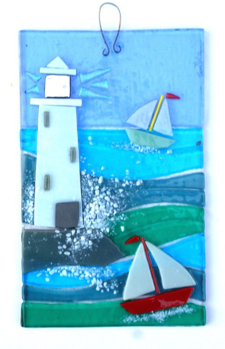 Row of beach huts curved fused glass table clock - Details About Lighthouse Original Fused Glass Wall Art