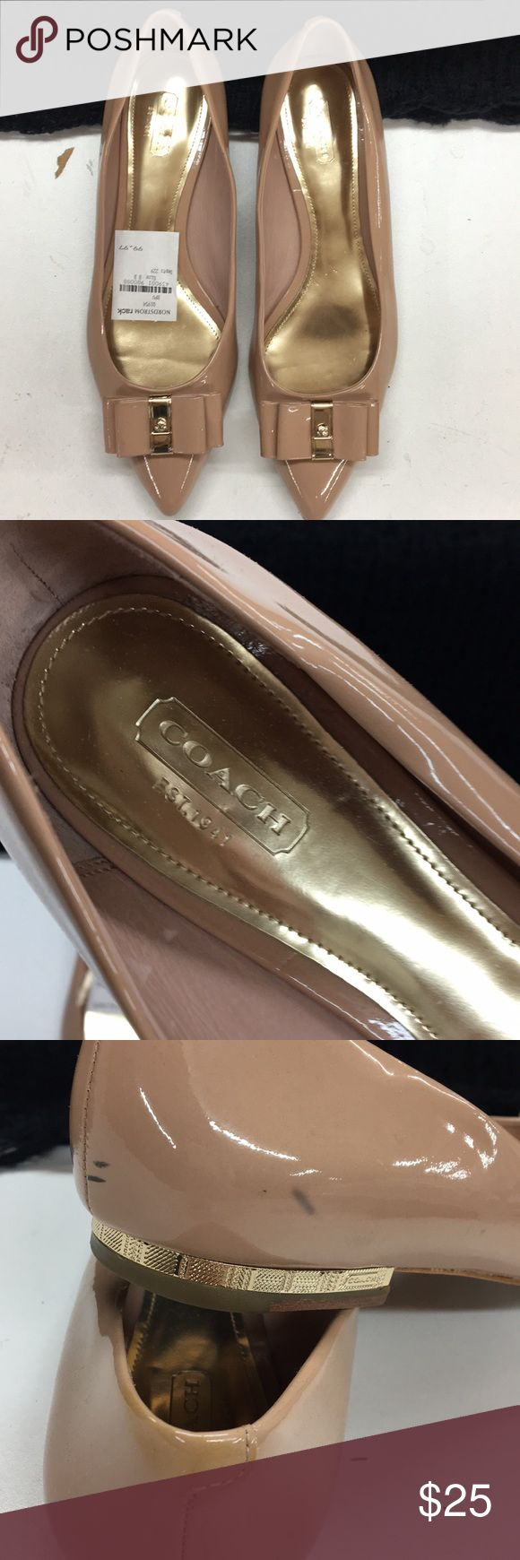 Coach flats 🌸 Used- Coach flats size 8. Nude/blush color...soooo cute! They have some scuff as shown in the pictures. The bottoms are as shown in the pictures! Ask if you have any questions :) Coach Shoes Flats & Loafers