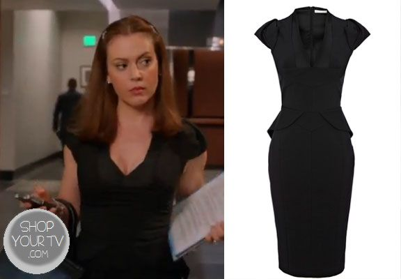 Savannah Davis (Alyssa Milano) wears this black tailored shift dress with matte and shine contrasting panels and peplum detail in this week's episode of Mistresses.