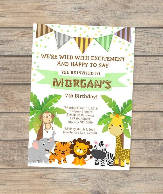 safari birthday invitation jungle animals birthday party invitation